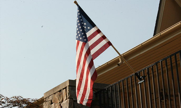 American Flag Mounted Using Our Flag Pole Mount